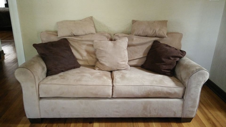 for-sale-tan-suede-loveseat-sofa-with-pillows